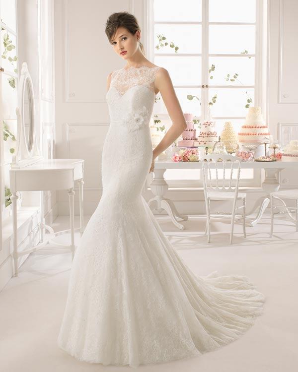 2015 Sexy Высокая шея свадебное платье Русалка / Труба Кружева С с шлейфом.